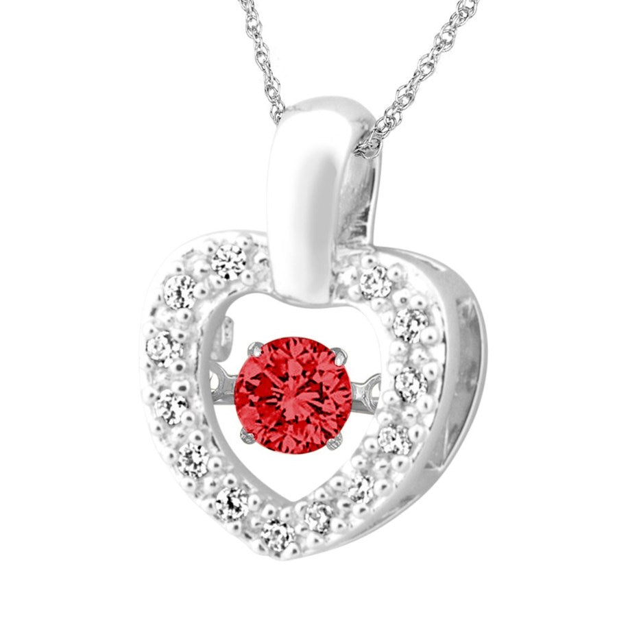 Silver Elegance Red and Clear CZ's Heart Glimmer Pendant Necklace - Sterling Silver - Handmade -SESP959RCZ