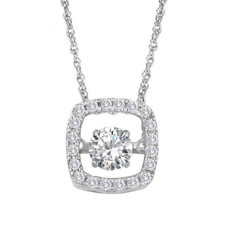 Silver Elegance Clear CZ's  Glimmer Pendant Necklace - Sterling Silver - Handmade - SESP960