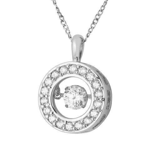 Silver Elegance CZ Round Glimmer Necklace - Sterling Silver - Made to Order -  SESP963