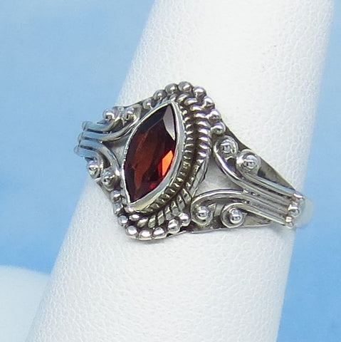 Size 7 - 0.6ct Natural Garnet Ring - Sterling Silver - Genuine Garnet - Marquise - Filigree Bali Boho Victorian Design - 141107
