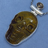 Genuine Tiger Eye Skull Necklace - Carved - Sterling Silver - Halloween Voodoo Goth Biker