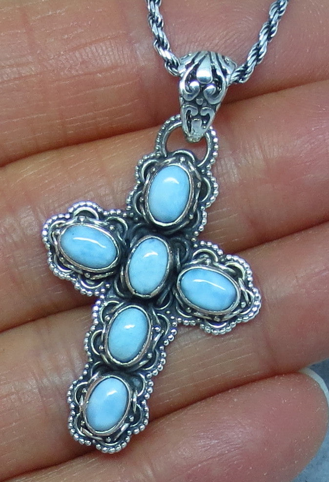 Genuine Larimar Cross Necklace - Sterling Silver - Filigree - c152610