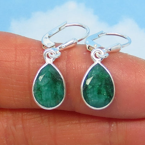 Small 2.46ctw Natural Emerald Earrings Sterling Silver Leverback Dangles - 10 x 7mm Pear Shape - Raw Genuine Emerald - Dainty -- 171503