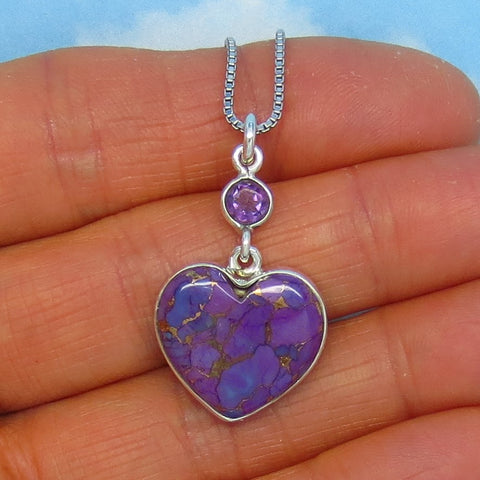 Dainty Mojave Purple Copper Turquoise & Amethyst Heart Pendant Necklace Sterling Silver Small Genuine Natural Arizona Turquoise su140901