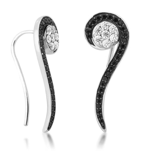 Silver Elegance Black and White CZ Sparkle Threader Earrings - Sterling Silver - Made to Order -  SESE664