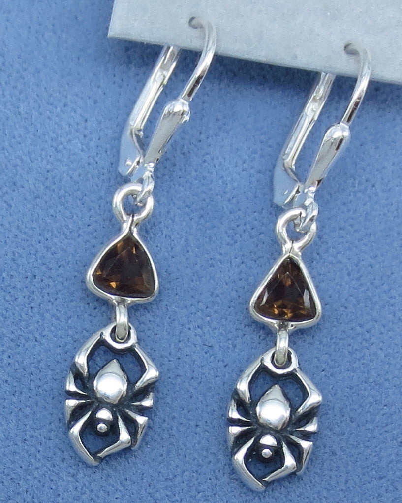 Tiny Spider Leverback Earrings with Smoky Quartz - Sterling Silver - Halloween - Goth -- 250925