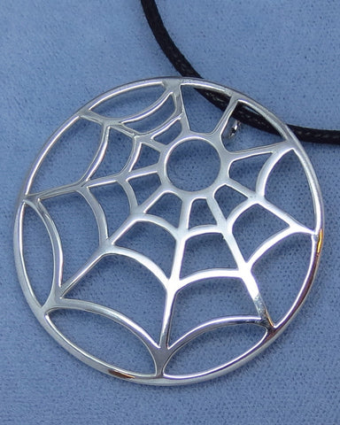 Big Spiderweb Necklace - Sterling Silver - Halloween - Spider - Large - Goth - Hand Made - 251569