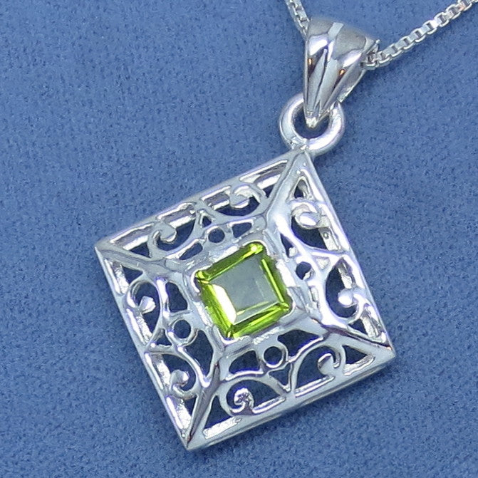 Genuine Peridot Necklace - Sterling Silver - Filigree - Princess Cut - Square - Diamond Shape -