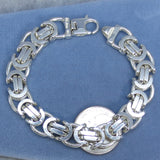"7.5"" (19cm) Vintage Square Byzantine Bracelet - Sterling Silver - Made in Italy - 47.1g - Chain Maille - Dragon Chain"