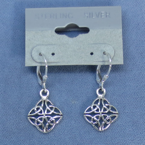 Celtic Trinity Knot Earrings - Leverback - Sterling Silver - Sun Symbol -- 180883