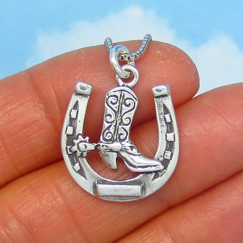Sterling Silver Cowboy Boot & Horseshoe Pendant Necklace - Horse Necklace - Cowboy - Western - Good Luck Necklace - Barrel Racer - p180566