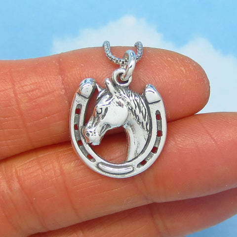 Sterling Silver Horseshoe Necklace - Horse Necklace - Cowboy - Western - Horse Head Necklace - Good Luck Necklace - Barrel Racer - p180563