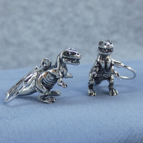 3D T Rex Dinosaur Leverback Earrings - Sterling Silver 211621