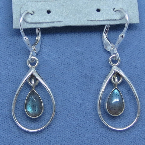 Teal Blue Labradorite Earrings - Leverback - Sterling Silver - Pear Shape - Handmade
