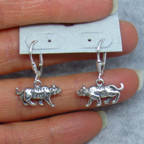 Tiger Earrings Sterling Silver Leverback Cat Earrings -- 251365