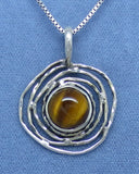 Genuine Tiger Eye Necklace - Sterling Silver - Bird Nest - Petroglyph Moon Sun - Handmade - TE171233