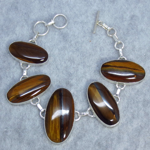 "Tiger Eye Bracelet - Sterling Silver - Statement Bracelet - 38.5g - 7"" or 7.5"" - Handmade"