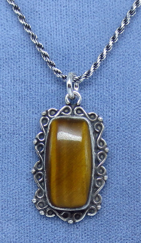 Tiger Eye Necklace - Cushion Cut - Sterling Silver - Victorian Filigree Design - p170618