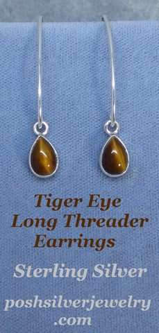 Tiger Eye Threader Earrings - Long Dangles - Sterling Silver - 181336