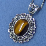 Tiger Eye Pendant Necklace - Sterling Silver - Victorian Filigree Design - Oval - p151738