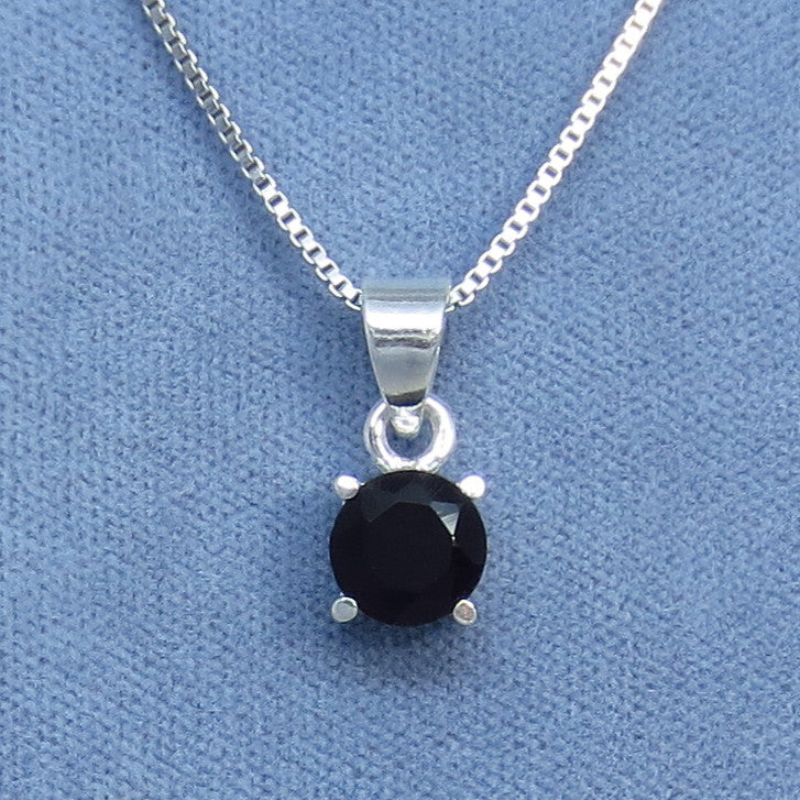Natural Black Onyx Faceted Pendant Necklace - Dainty Necklace - Sterling Silver - P180619