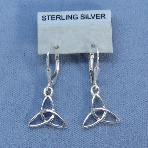 Tiny Celtic Trinity Knot Leverback Earrings - Sterling Silver -- 250726