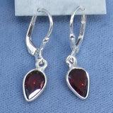 Tiny Genuine Garnet Earrings - Sterling Silver - Leverback - Pear Shape - Dainty - Hand Made - 170811