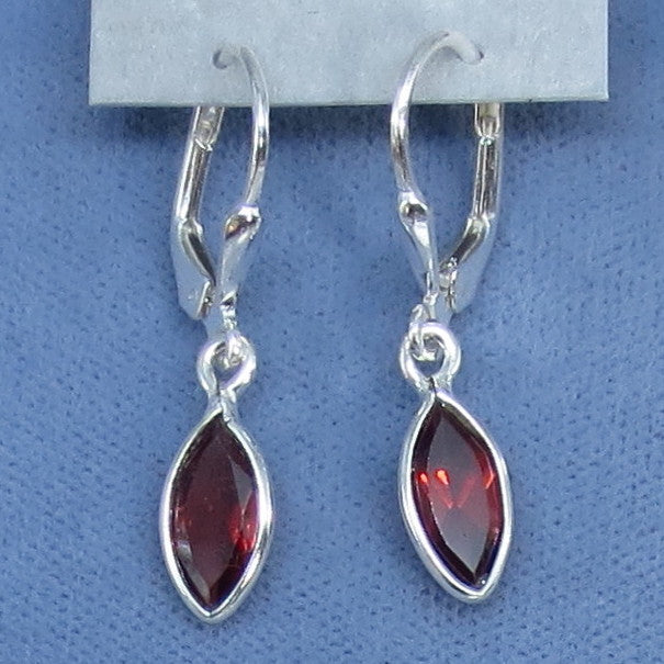 Tiny Genuine Garnet Earrings - Sterling Silver - Leverback - Marquise - Dainty - Hand Made - 170821