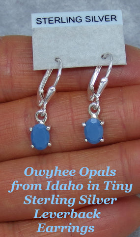 Tiny Blue Owyhee Opal Earrings - Leverback - Sterling Silver - Oval - Dainty Delicate Simple - 171324