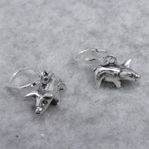 Tiny Pig Leverback Earrings - Sterling Silver - Three Dimensional