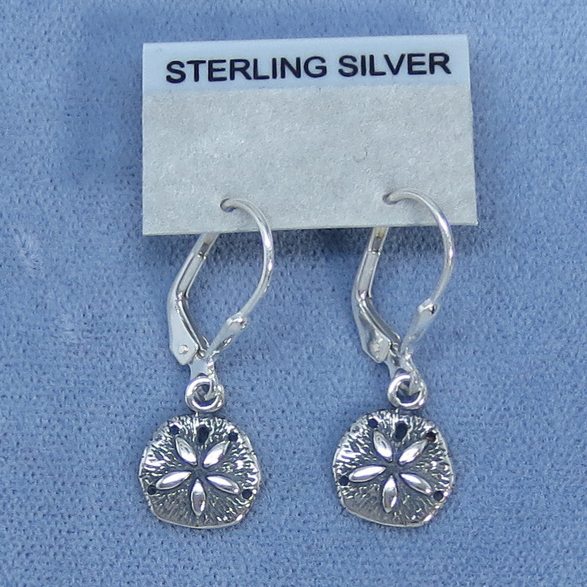 Sand Dollar Teeny Tiny Leverback Earrings Sterling Silver - M888