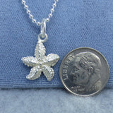 Small Starfish Pendant Necklace - Sterling Silver - Italy - s230190