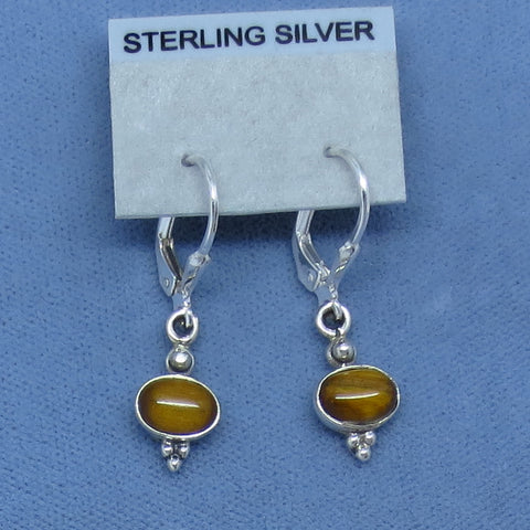Tiny Tiger Eye Earrings - Sterling Silver - Leverback - Victorian Design - 170803