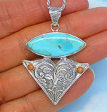 Natural Mojave Blue Turquoise Pendant Necklace - Sterling Silver - Arrowhead - Western - Filigree - a171806