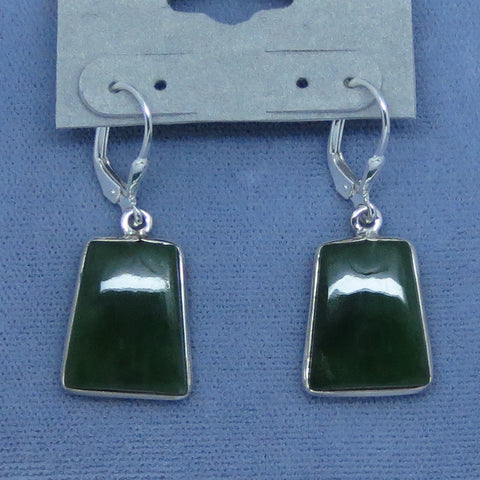 Genuine Nephrite Jade Earrings - Leverback - Sterling Silver - Trapezoid - Geometric - Simple - Green - Lucky - 182316