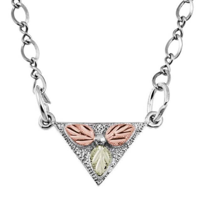 Mt. Rushmore Black Hills Gold on Silver Triangle Necklace - 12K Rose Pink and Green Gold Accents - Handmade -  MR20557