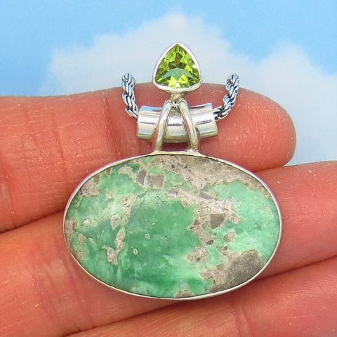 Rare Utah Variscite Pendant Necklace - 925 Sterling Silver - Genuine Natural - East West Oval Horizon - Peridot Accent - p241858