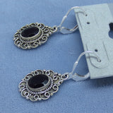 Faceted Black Onyx Earrings - Leverback - Sterling Silver - Oval - Filigree Victorian Vintage Design - 171404
