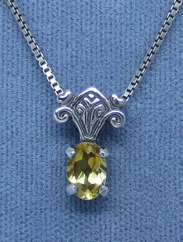 Dainty Genuine Citrine Necklace - Sterling Silver - Victorian Design - Small - Oval -- C180399