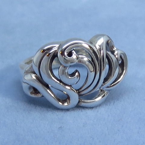 Size 7-1/2 Filigree Ring - Sterling Silver - Art Nouveau Style - Water Lily - Lotus - R111560