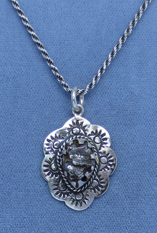 Meteorite Campo del Cielo Stamped Sun Pendant Necklace - Sterling Silver - Western -- M150889