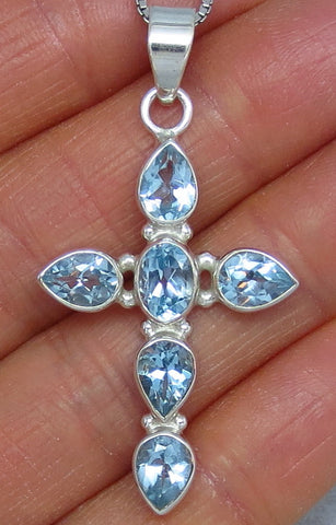 Genuine Sky Blue Topaz Cross Necklace - Sterling Silver - Large - Pear - Hand Made - C171605