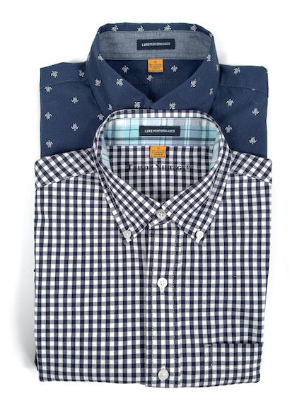 Two button down shirts, folded