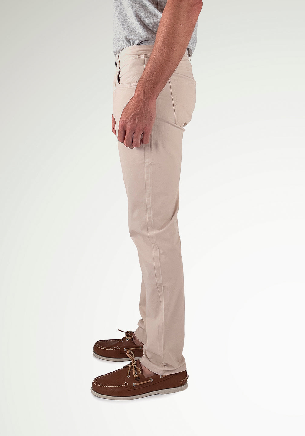Back View Performance 5-Pocket Pants- Westport Athletic Straight Fit in Pumice