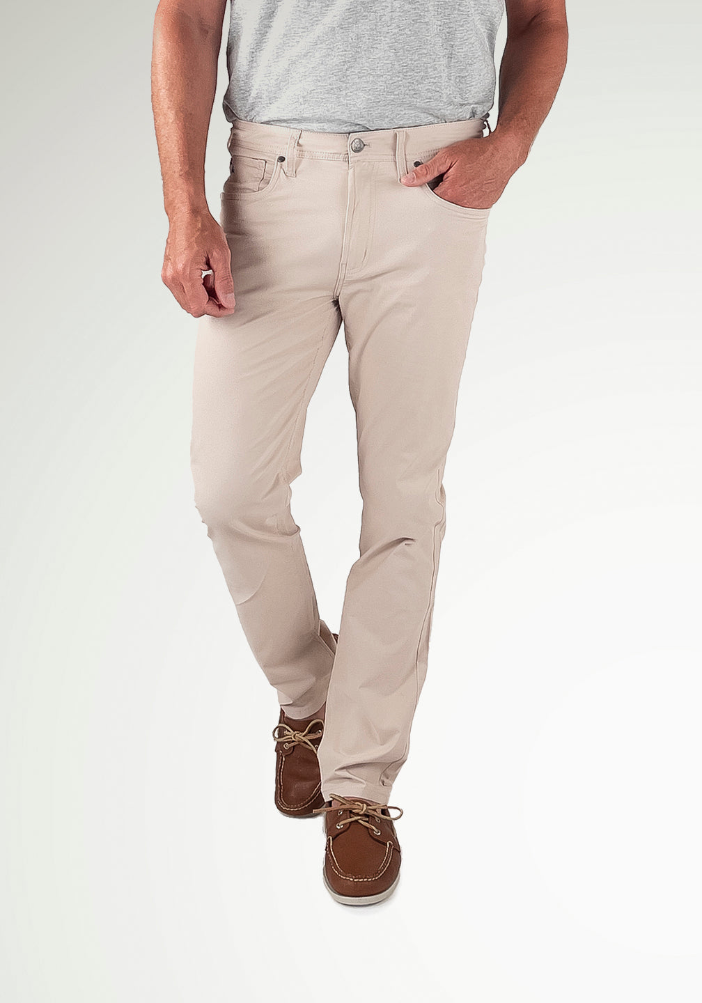 Front View Performance 5-Pocket Pants- Westport Athletic Straight Fit in Pumice