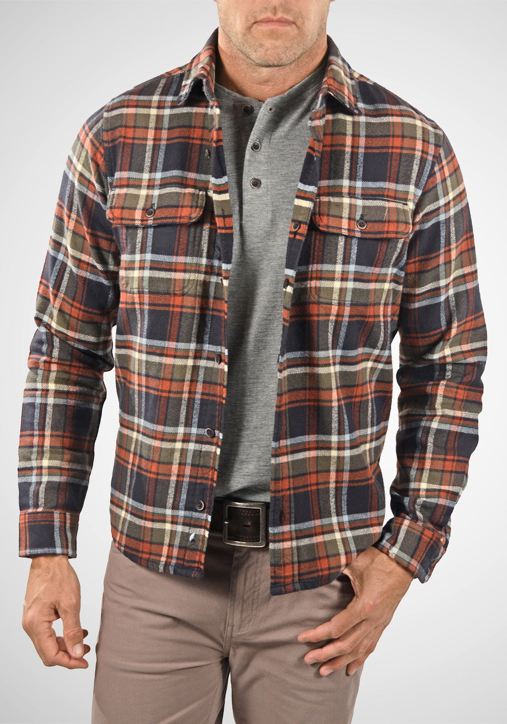 Front View Heavy Weight Reversible Long Sleeve Shirt in Countryside Plaid