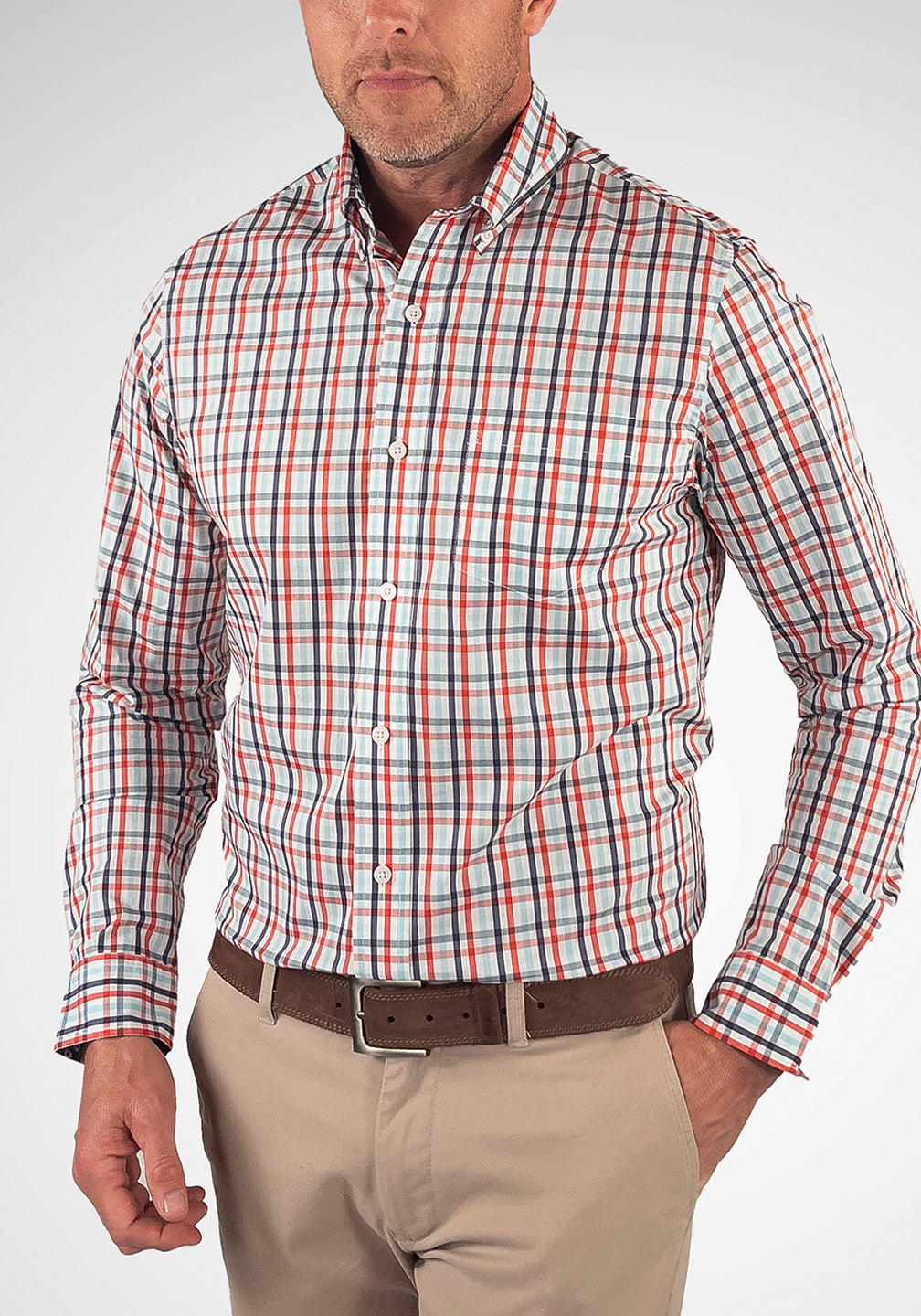 Fast-Dry Stretch Performance Multi Gingham Long Sleeve Shirt in Angel Blue/Poppy/Sargasso