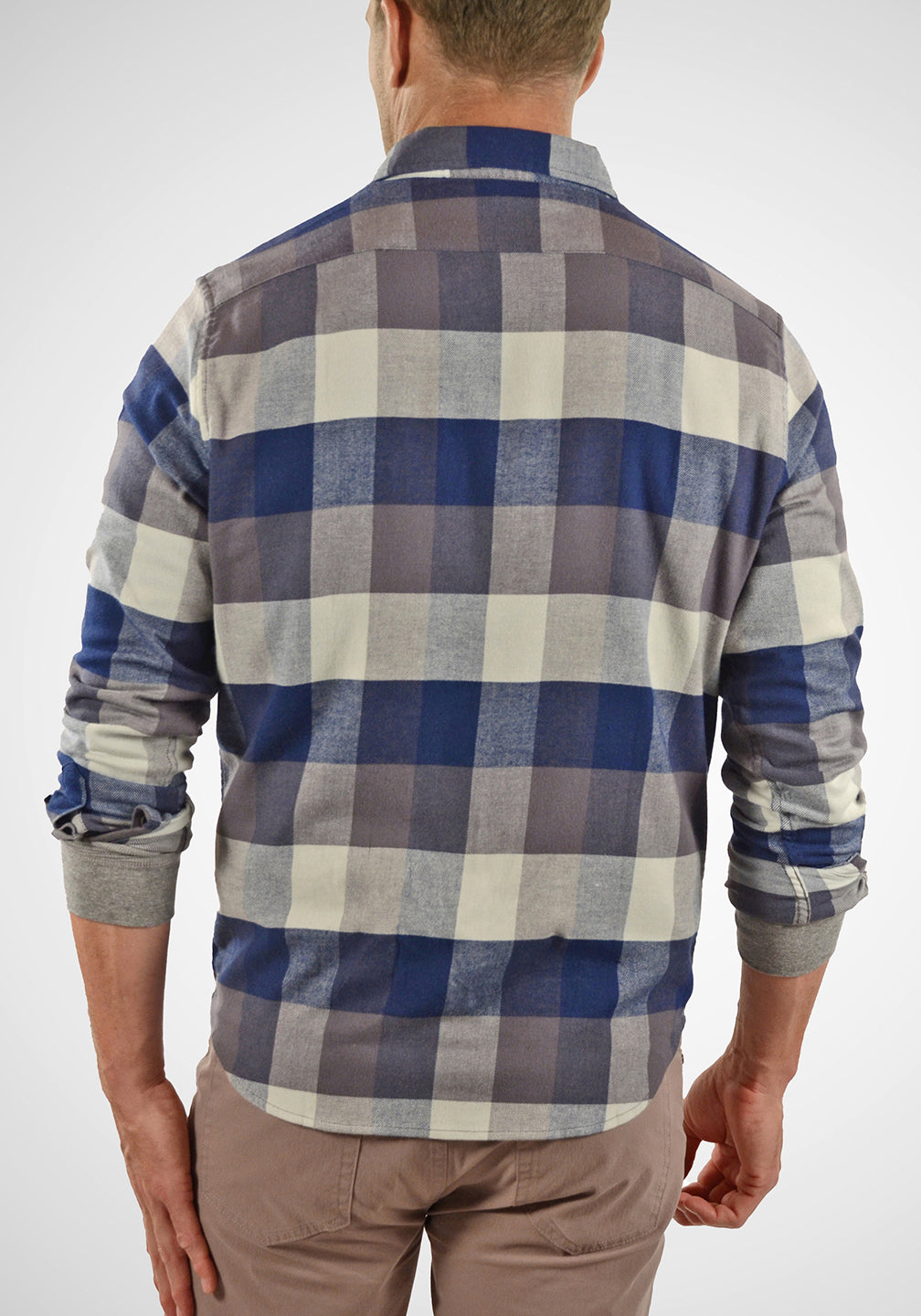 Back View Airotec® Performance Stretch Flannel Shirt in Buffalo Indigo Flannel