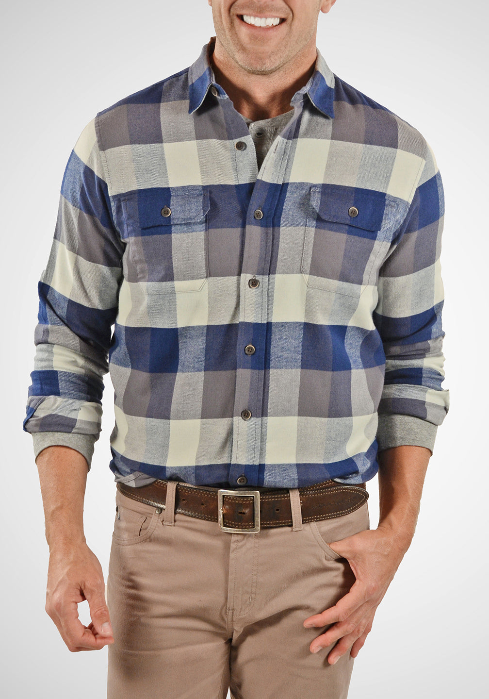 Front View Airotec® Performance Stretch Flannel Shirt in Buffalo Indigo Flannel