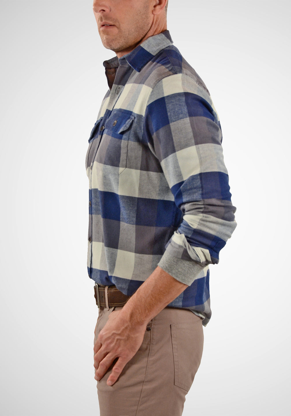 Side View Airotec® Performance Stretch Flannel Shirt in Buffalo Indigo Flannel